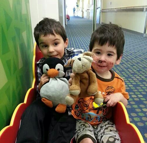 Henry and Owen with stuffed toys