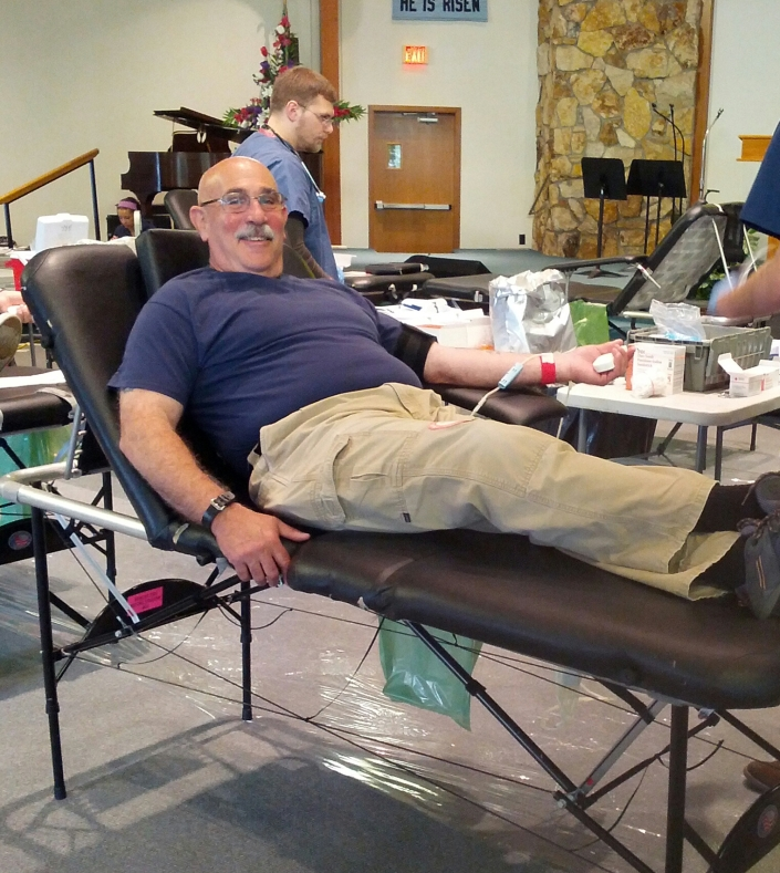 Grandpa Bob donating blood